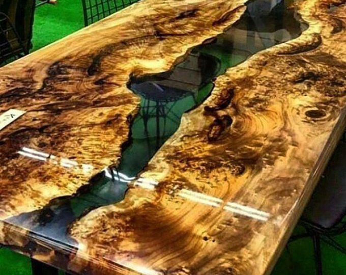 Walnuss-Epoxid-Harz-Tisch mit Nussbaum Epoxid Consol, live Rand, Epoxid-Fluss-Tisch, Platte einzelne Tabelle, Harz-Coffe-Tisch, benutzerdefinierte spezielle Firnuture