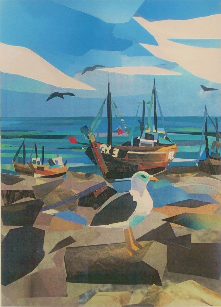 """Fishing Boats, The Stade, Hastings"" by Sue Farquharson (collage)"