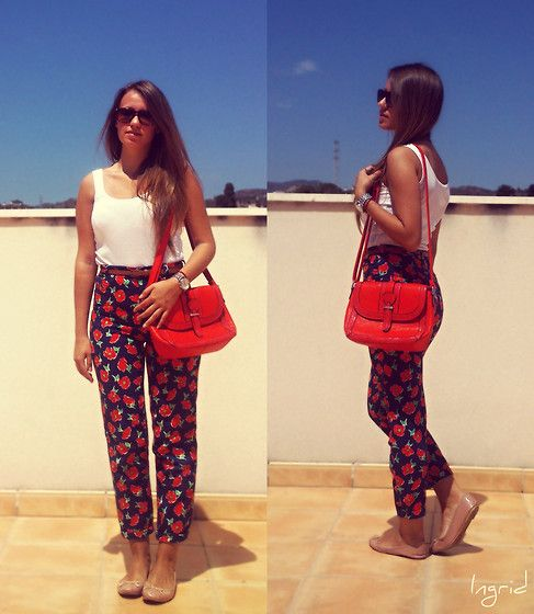 Get this look: http://lb.nu/look/6203747  More looks by Ingrid: http://lb.nu/siempreeverything  Items in this look:  F&F Top, United Colors Of Benetton Pants, Random  Bag, H&M Flats   #unitedcolorsofbenetton #flowers #pants #red #style #vintage #modern #fashion #look