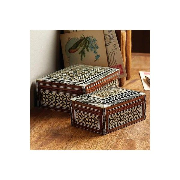NOVICA Small Egyptian Inlaid Box ($35) ❤ liked on Polyvore featuring home, home decor, decor accessories, decorative boxes, novica, novica home decor and egyptian home decor