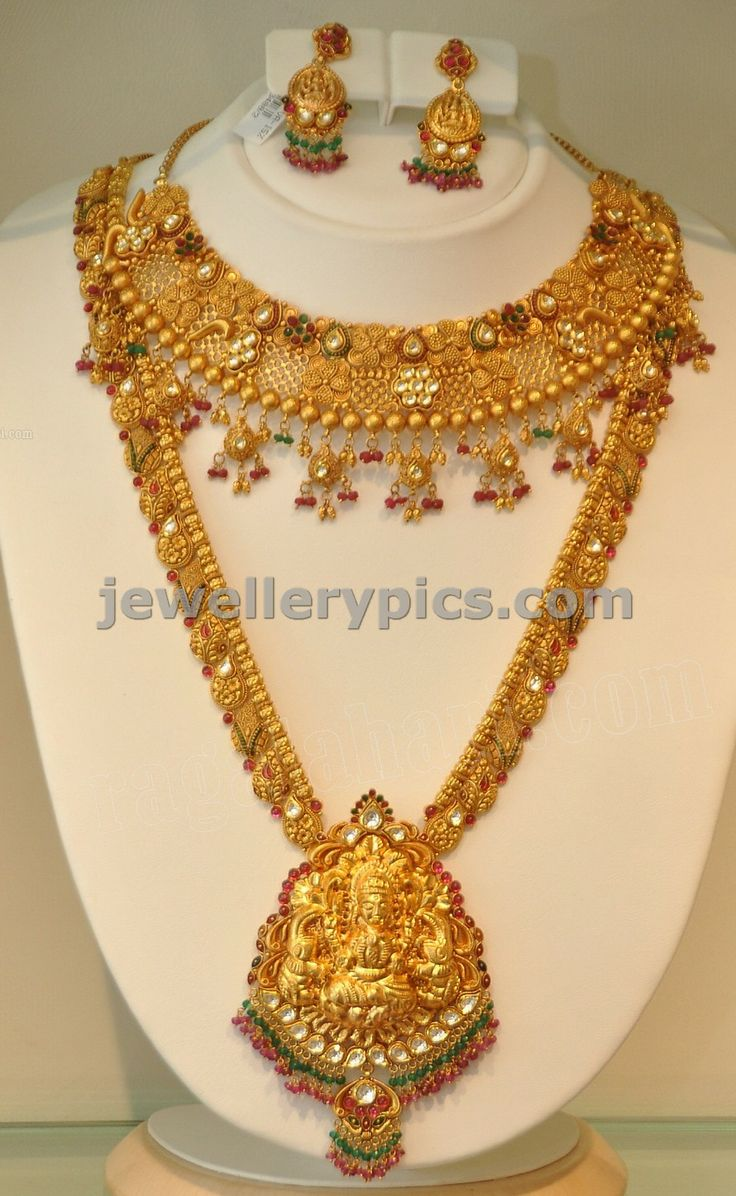 Beautiful 22 carat gold chains with matching pendant designs latest - Khazana Gold Haram Long Necklace Designs Latest Jewellery Designs