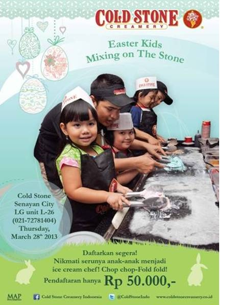 Get mixing this Easter! Bring your kids to Cold Stone Creamery this easter week for a hand at the cold grill!