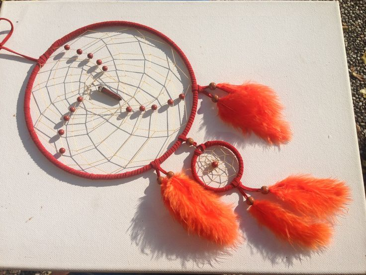 Traumfänger & Mobiles - Rote Jaspis Spitze im roten Traumfänger - ein Designerstück von Traumnetz-com bei DaWanda