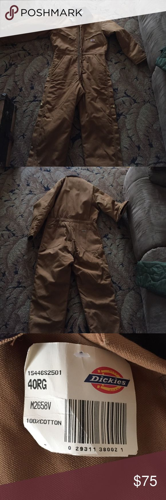 Men's Dickies premium insulated coveralls NWT men's size 40 regular coveralls classic Dickies brown duck coveralls with polyester insulation and brown corduroy collar offer water repellent warmth for the worst weather. Zip to waist and zip and snap legs for easy on-off over clothes. Paid '$79.99 at Cabela's Dickies Other
