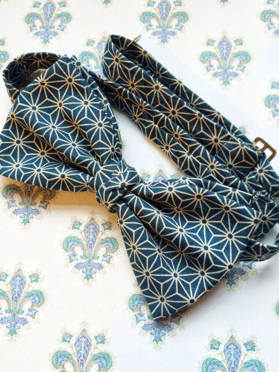 mens bow tie cotton print blue bow tie green bow by BeauBowTies