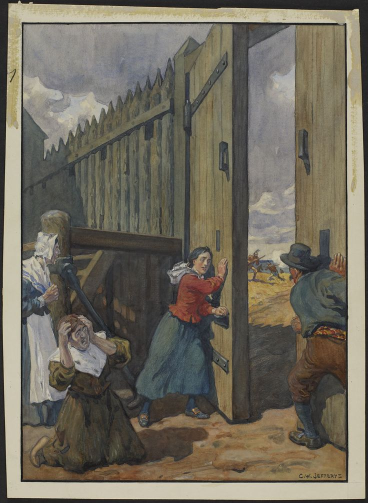 The Iroquois attack of Fort Vercheres, 1692.  Madeleine closes the gate. (item 1)