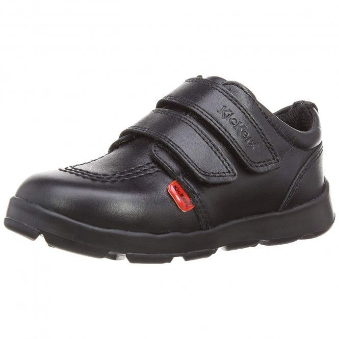 mens black kickers leather velcro shoes