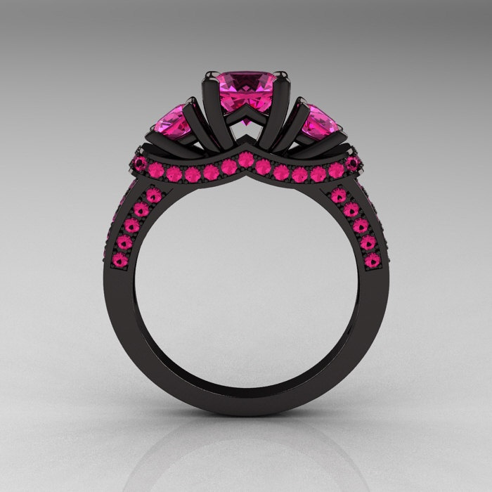 French 14K Black Gold Three Stone Pink Sapphire Wedding Ring, Engagement Ring R182-14KBGPSS. $1,849.00, via Etsy. I don't normally like pink, but this is awesome!