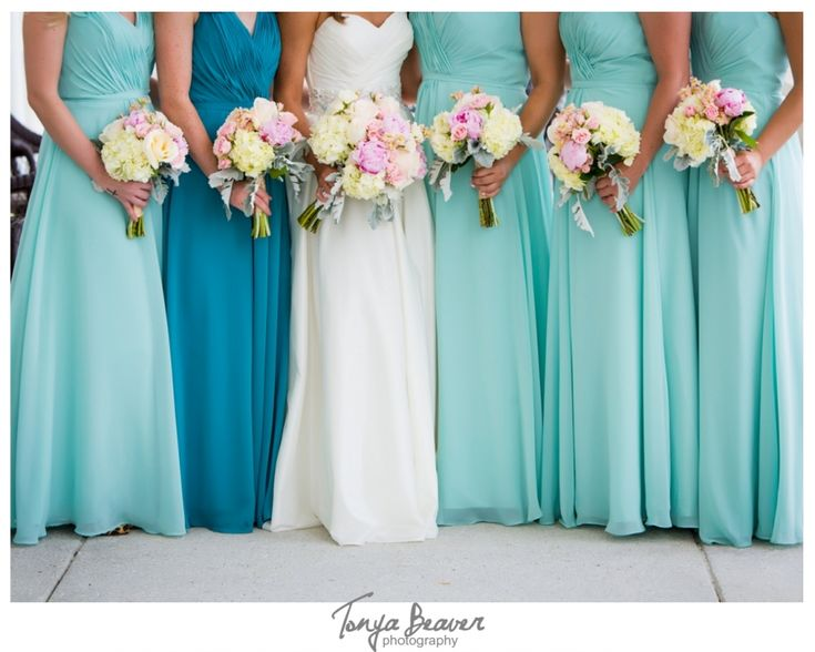 River House Wedding; Tonya Beaver Photography; St Augustine Wedding; pink and cream bouquet; aqua bridesmaid dresses; different color for maid of honor; floor length bridesmaid dresses