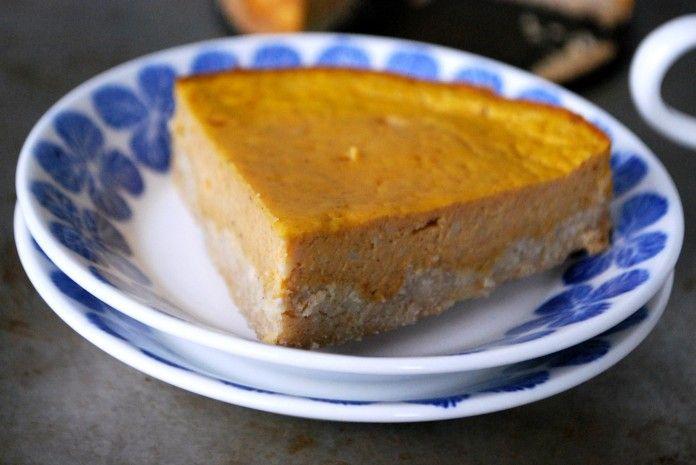 Pumpacheesecake - Glutenfri Fyllning: 60 gram keso 1 ägg ½ dl pumpapuré 2 msk vispgrädde 1 msk sötströ 2 krm kanel 1 krm kardemumma 1 krm ingefära