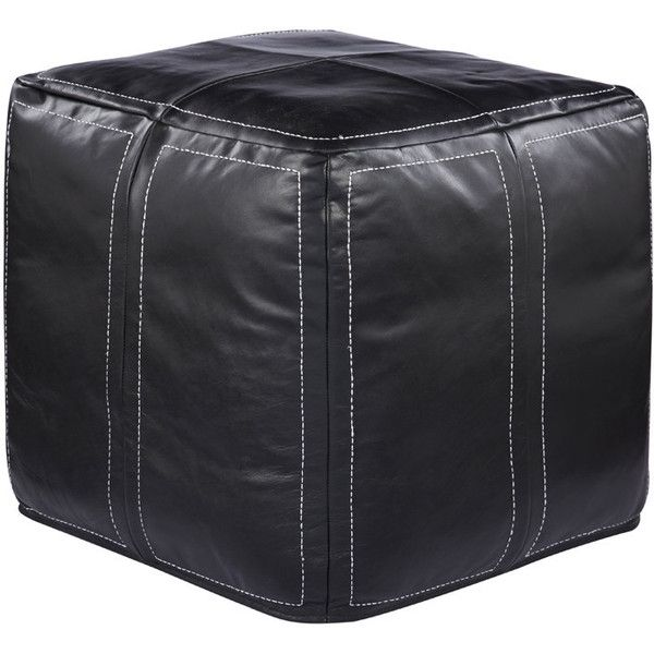 Ultra Pouf in Moonless Night design by Jaipur (610 CAD) ❤ liked on Polyvore featuring home, furniture, ottomans, poufs, leather footstool, leather ottoman and leather furniture