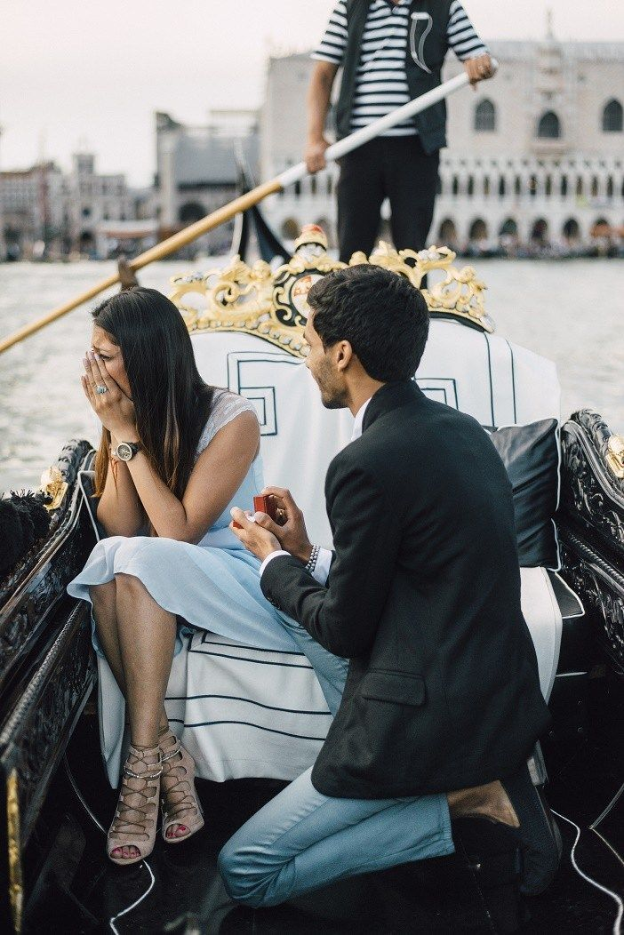Engagement on a gondola in Venice