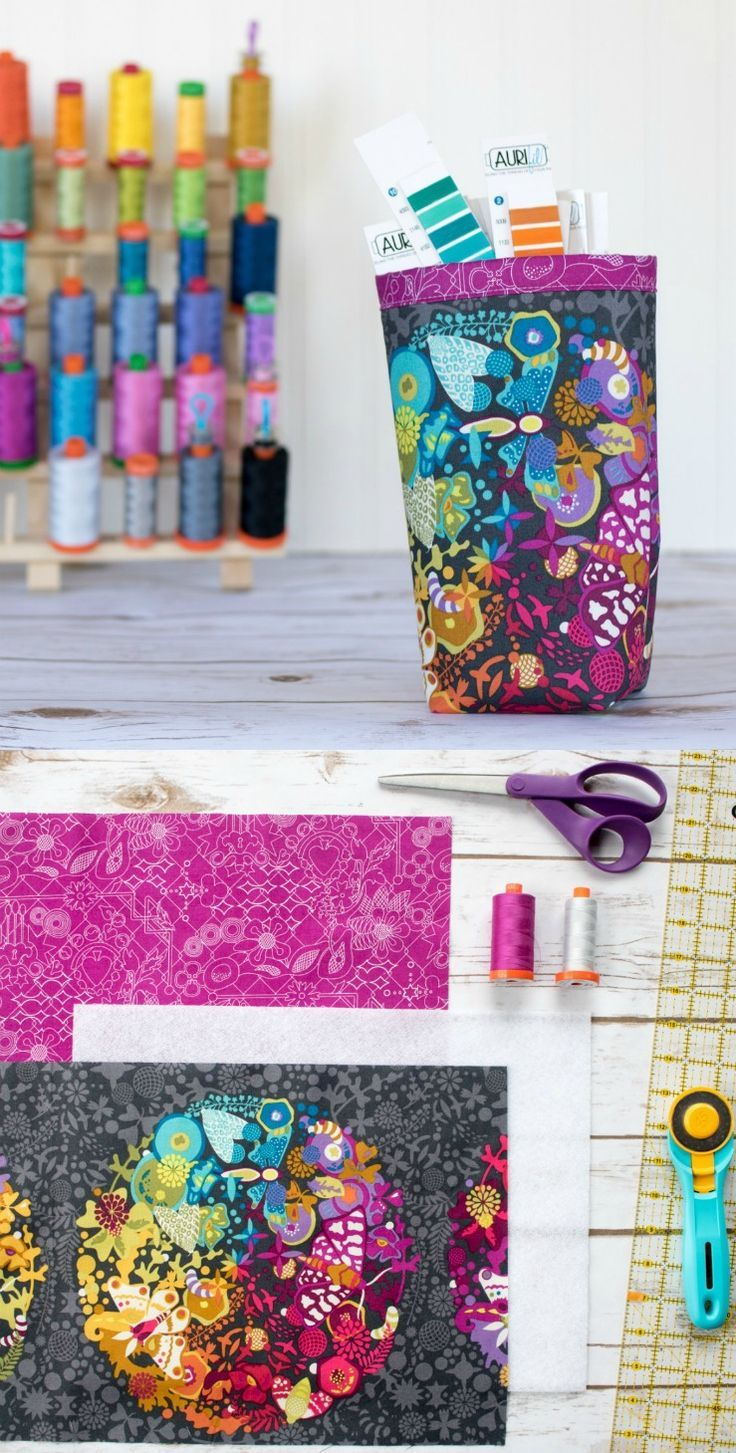 Fabric organizing bin tutorial - great scrap buster project for quilting cotton.