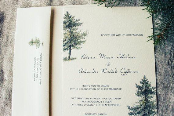 Woodland Wedding Invitation Vintage Pine Tree Wedding Forest Wedding Rustic Wedding DIY Or Ship