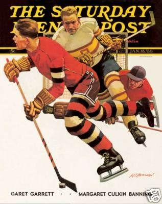 Hockey Players Magazine Cover Saturday Evening Post Art Poster Print SKU1114 | eBay