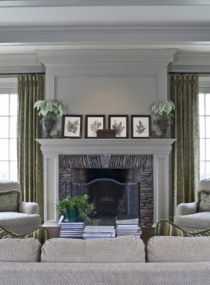 traditional family room by Castro Design Studio  fireplace surround