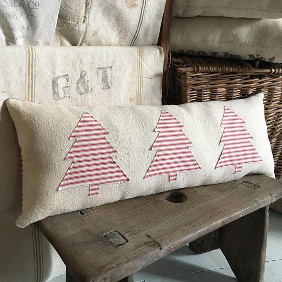 Farmhouse Christmas Pillow/ Vintage grain sack pillow/ bolster