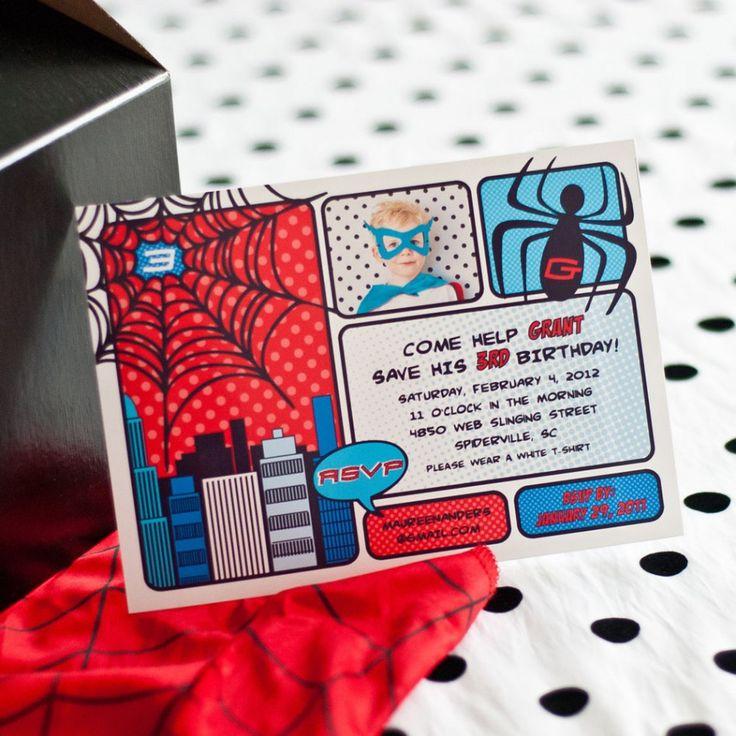Super Spider Super Hero Printable *Photo* Invitation  {Anders Ruff}