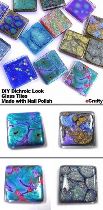 Faux dichroic glass tiles made with nail polish from  ECRAFTY.COM