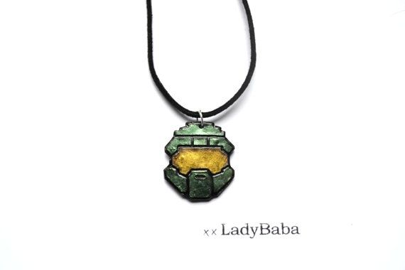Halo Master Chief Helmet Polymer Clay Pendant with by xxLadyBaba