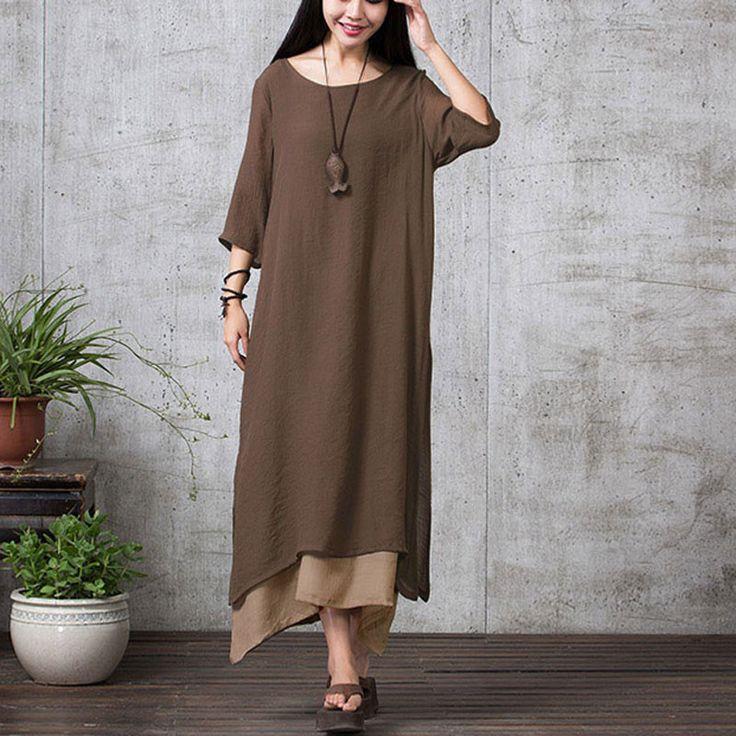 Brown Long Sleeve Maxi Linen Dress