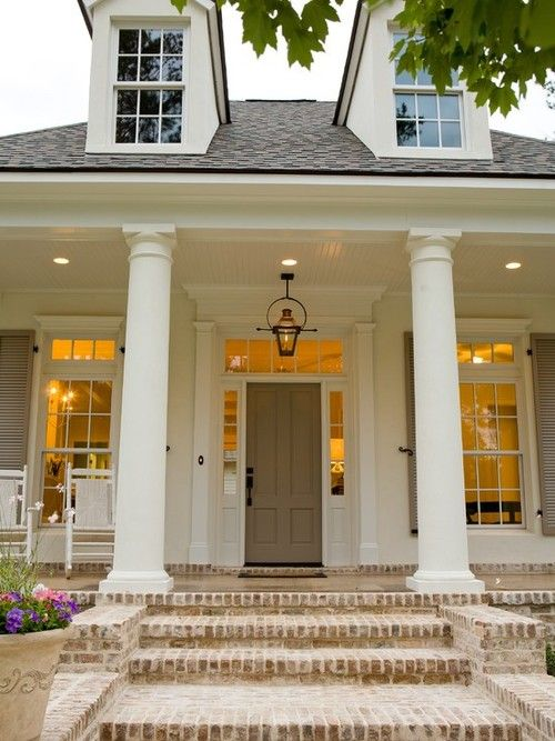 Front porch, lantern, brick