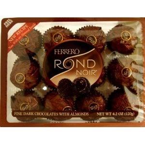 Ferrero Rondnoir Fine Dark Chocolates with Almonds - NEW RECIPE (Pack of 4)