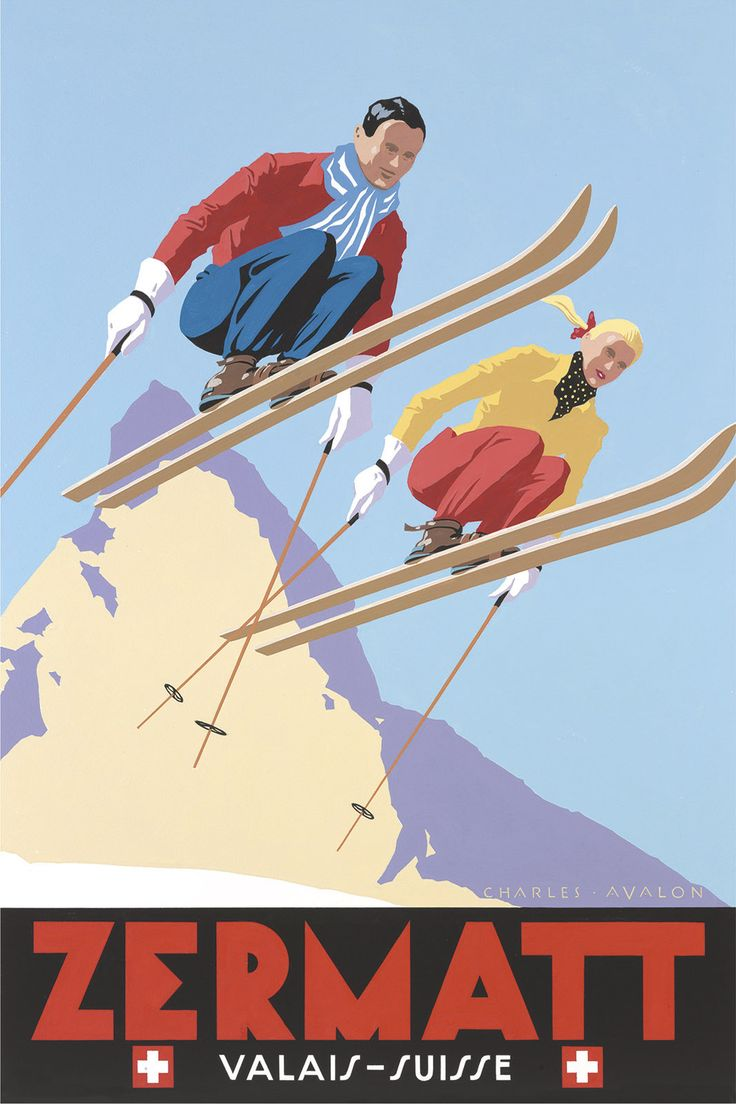 PEL107: 'Zermatt: Skiing Couple' - by Charles Avalon - Vintage travel posters - Winter Sports posters - Art Deco - Pullman Editions