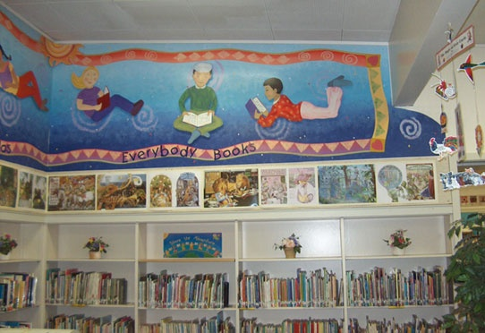 Wall mural above bookshelves