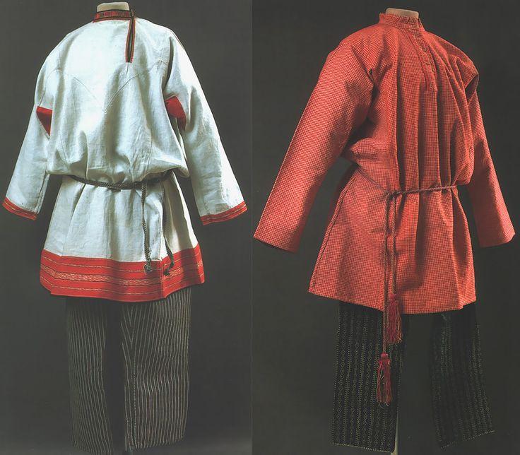 Слева: праздничная мужская одежда, Пензенская губ., кон.19в. - рубаха, порты  Справа: мужская одежда, Вологодская губ., кон.19в., рубаха, по...