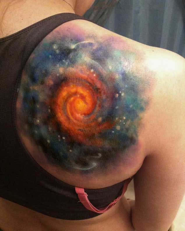 Swirling Galaxy Space Tattoo on Shoulder