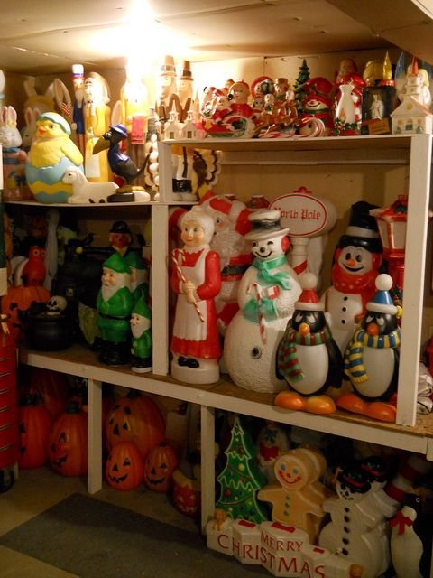 Vintage Holiday Blow Mold heaven - and so well organized - OhMyGodBecky! on Flickr- good job!