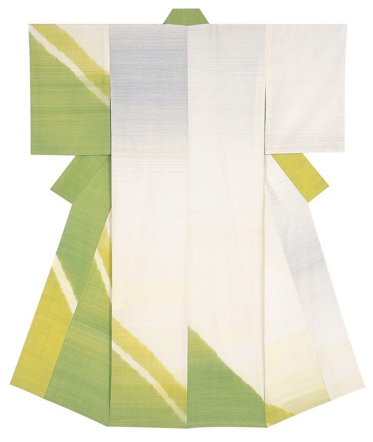 紬織着物「若葉の斜景」