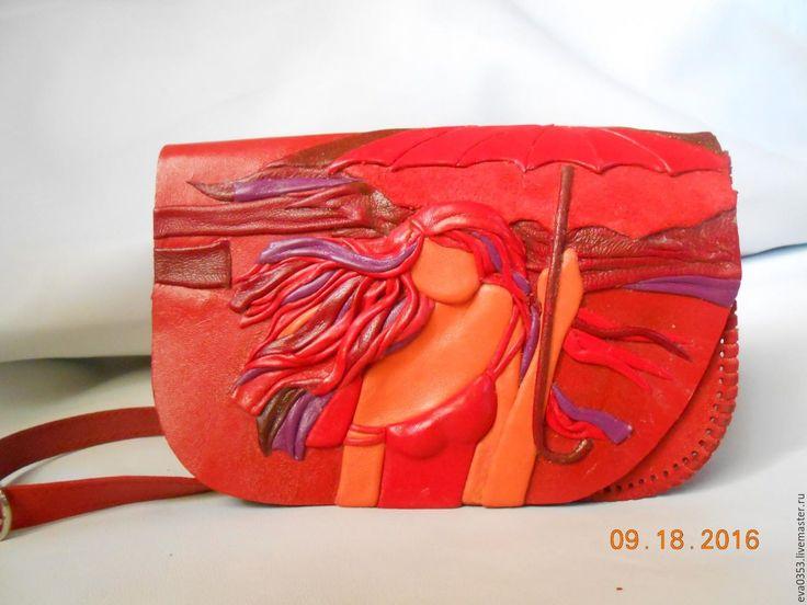 """Купить Cумка из кожи """" Очарование"""" - фуксия, рисунок, кожа натуральная, декоративные элементы"""