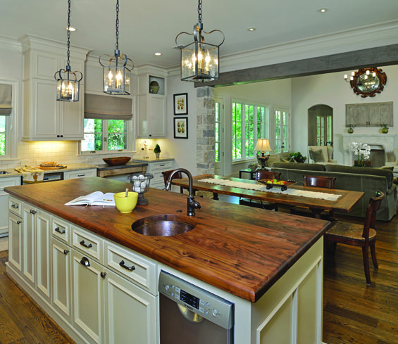 The Wood Countertop Anchors The 10 Foot Island That Provides Additional Storage A Second Dishwasher And Pr Living Room Kitchen Country Kitchen Kitchen Remodel