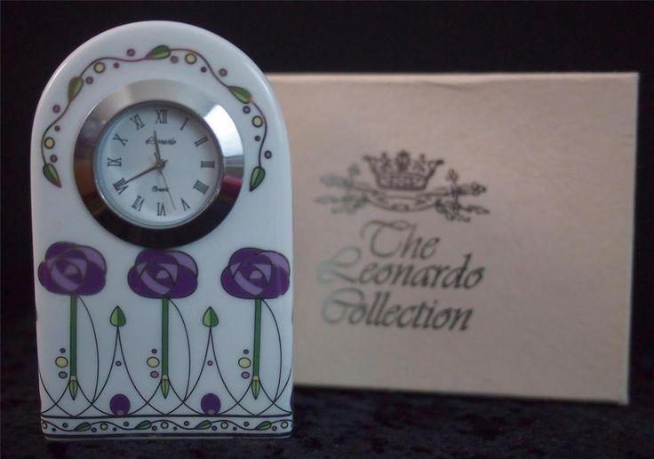 NIB LEONARDO Charles Rennie MACKINTOSH Style Porcelain Quartz Small Mantel Clock #TheLeonardoCollection #ArtNouveau