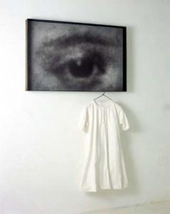 Lena Liv    Occhio (2000)  Iron, macrodevelopment of photographic image, hand-made paper, pigment