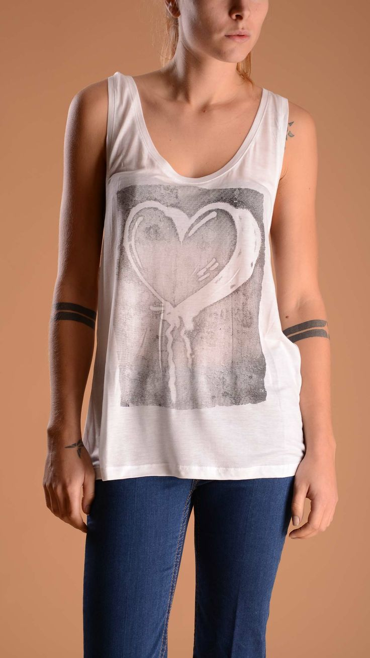 REBELLO White racerback top with heart balloon front print and scoop neck.