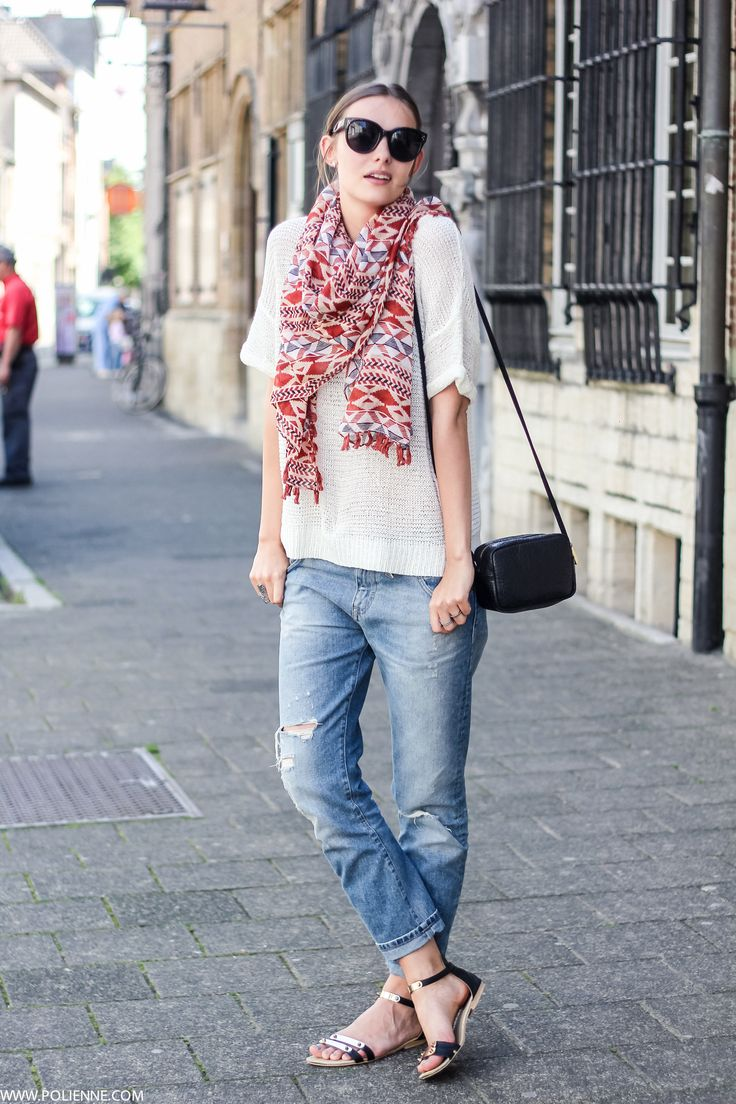 White t shirt fashion tips - To Spruce Up Your Outfit Add A Colourful Scarf The Boyfriend Jeans And T Shirt Provides A Great Canvas For A Bit Of Colour Via Paulien Riemis