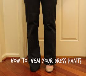 From Woo to You: DIY: How to Hem Your Dress Pants---turning my old too short maternity pants into capris