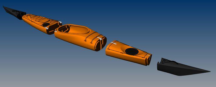 Switchblade 17ft sectional modular sea kayak in 5 pieces