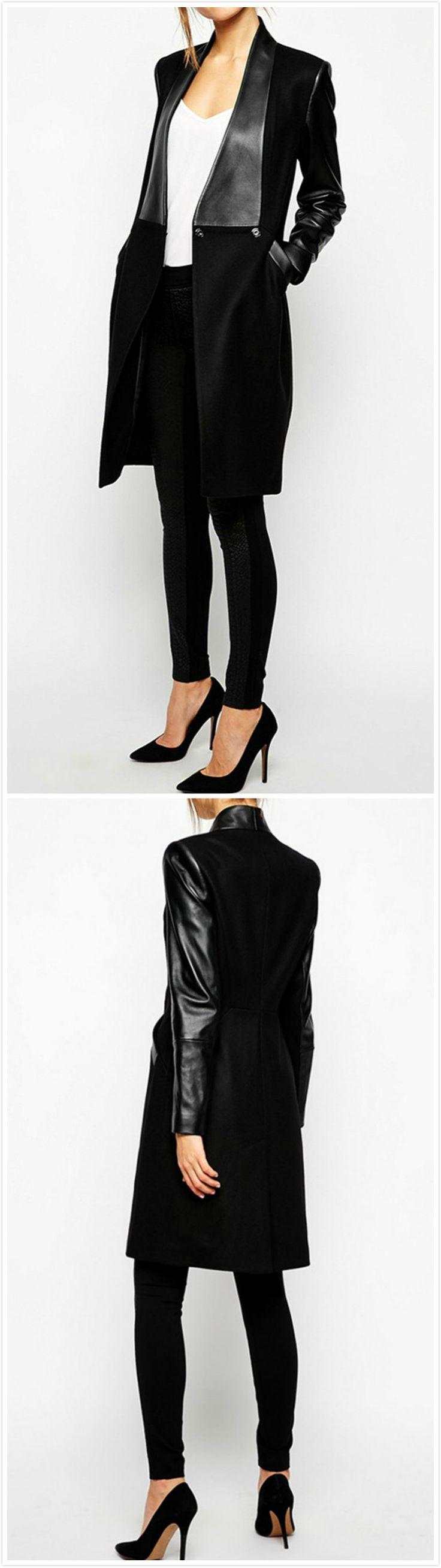 PU Long Sleeve Slim Wool Jacket Coat