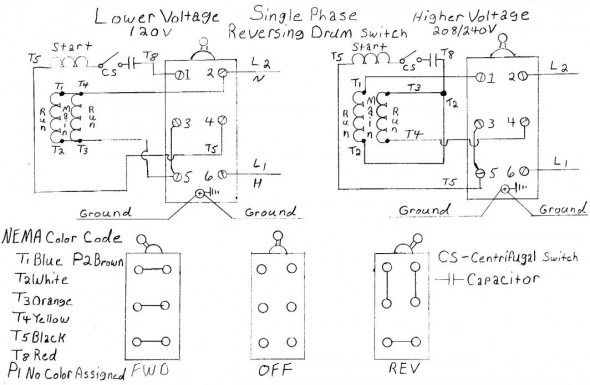 Phase Dual Voltage Motor Wiring Schematic on