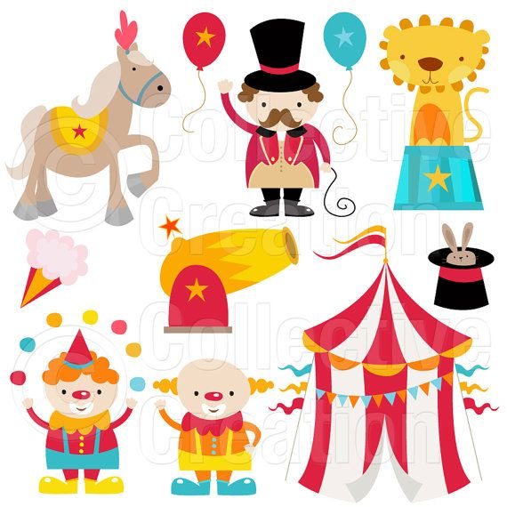Circus Digital Clip Art Clipart Set - Personal and Commercial Use