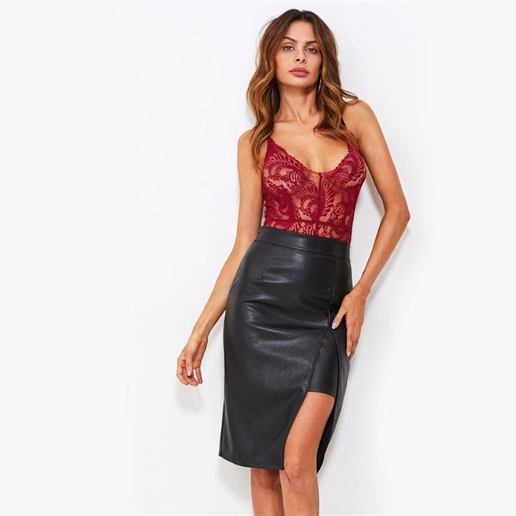 Cecilia Faux Leather Split Skirt