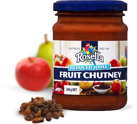 Reduced Joule Fruit Chutney  A twist on a Rosella classic, Reduced Joule Fruit Chutney delivers great flavour with less sugar than the traditional alternative. A harmonious blend of savoury and sweet notes, this fruit chutney boasts a delicious blend of real fruit pieces, vegetables and a selection of complimentary spices.  Available in 240g jar.