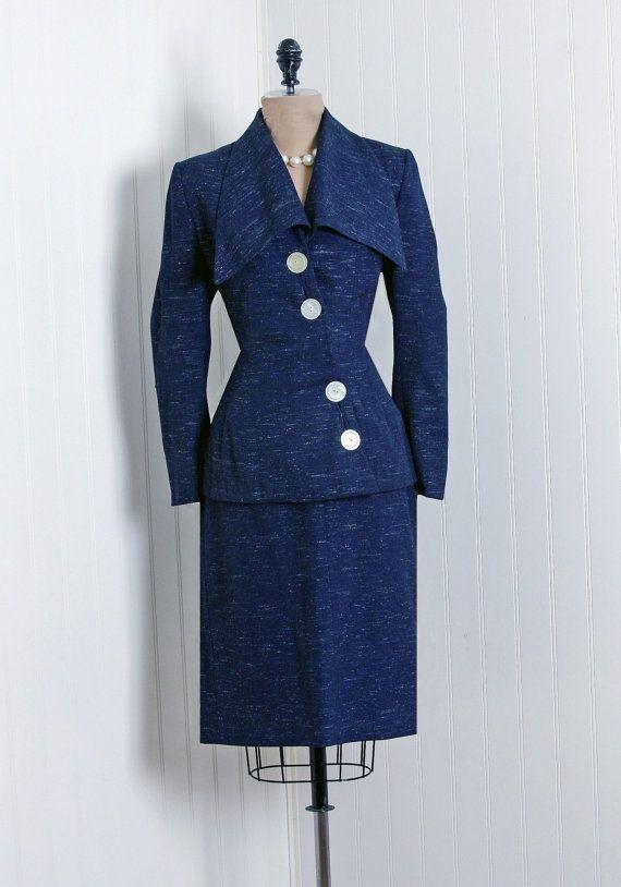 Vintage Lilli Ann navy blue suit