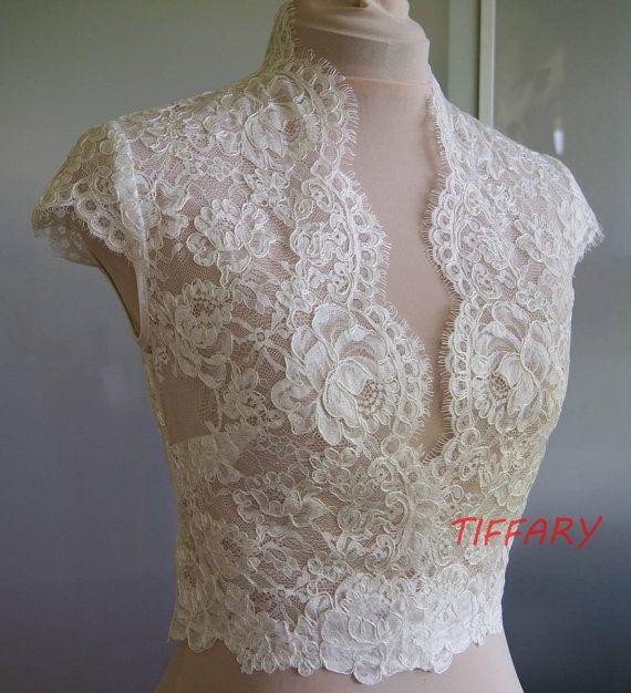 Wedding bolero-top-jacket with lace short sleeves by TIFFARY