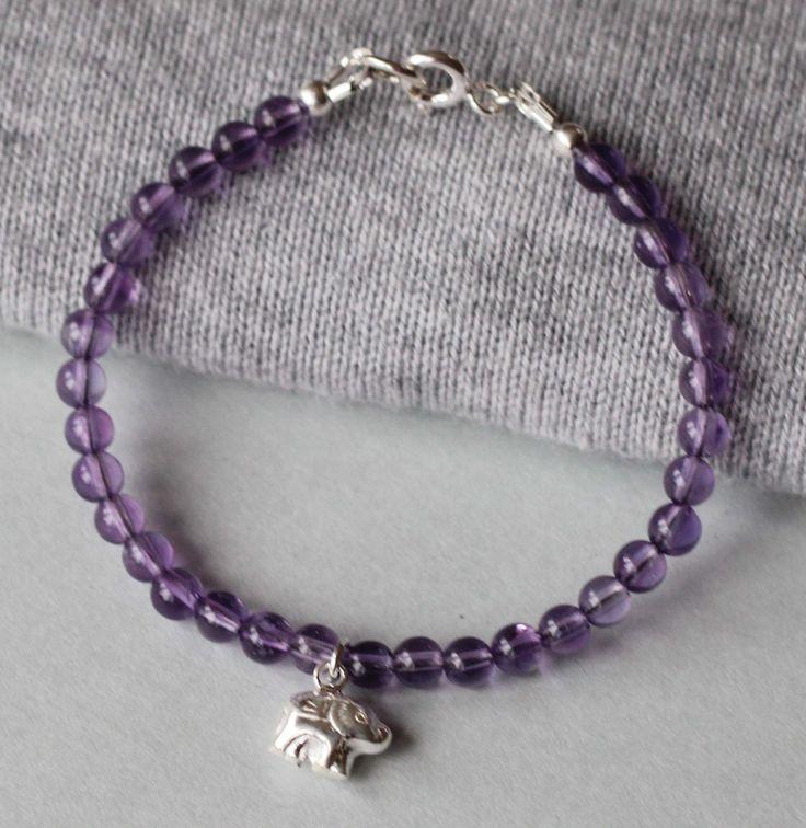 Amethyst Gemstones with Sterling Silver Elephant Charm Girl's Bracelet by ILgemstones on Etsy