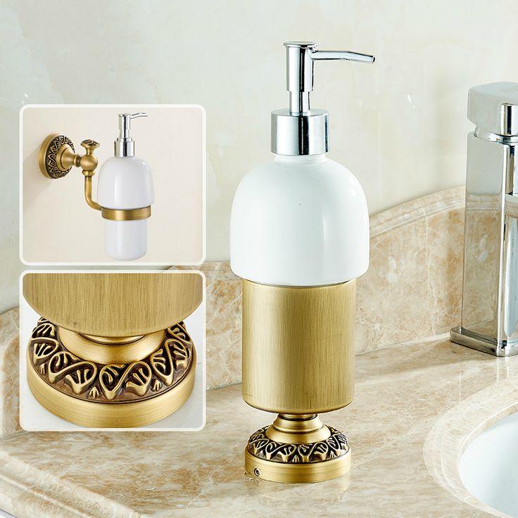 Antique Bronze Sitting Type Hand Washing Liquid Cup Liquid Soap Dispenser European Brushed Washing Liquid Soap Bathroom Products #Affiliate
